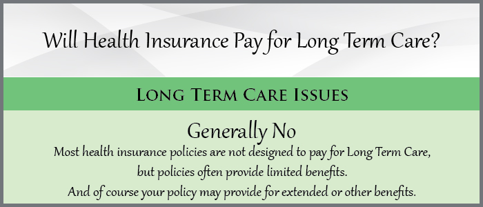 Will Health Insurance Pay for Long Term Care?